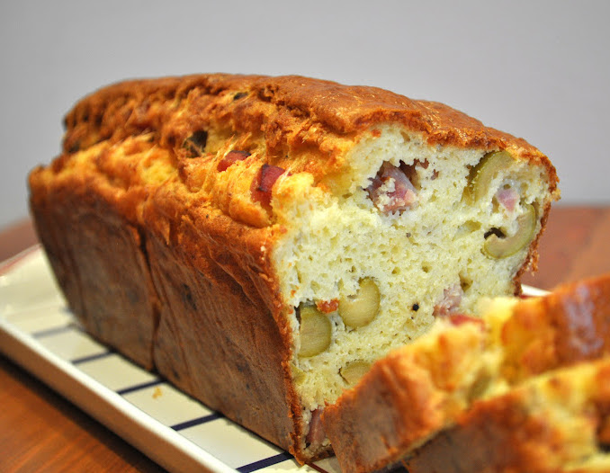"Bacon and Olive Loaf or ""Cake aux Olives"""