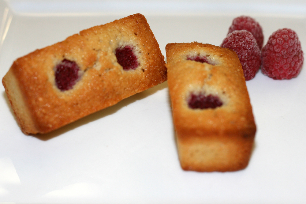 Financiers with Raspberries