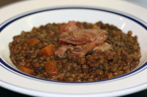 Cured Pork with Green Lentils